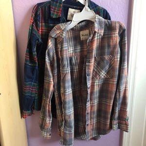 2 Boyfriend Button Up Flannel Plaid Blouses